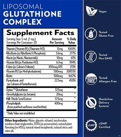 Quicksilver Scientific Liposomal Complex Supplement Facts