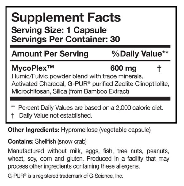 the supplement facts for Mycopul by Researched Nutritionals