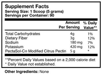 Researched Nutritionals Pectasol-c powder nutritional label