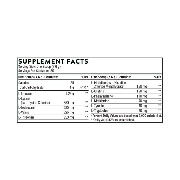 Thorne Amino Complex (Berry) Supplement Facts