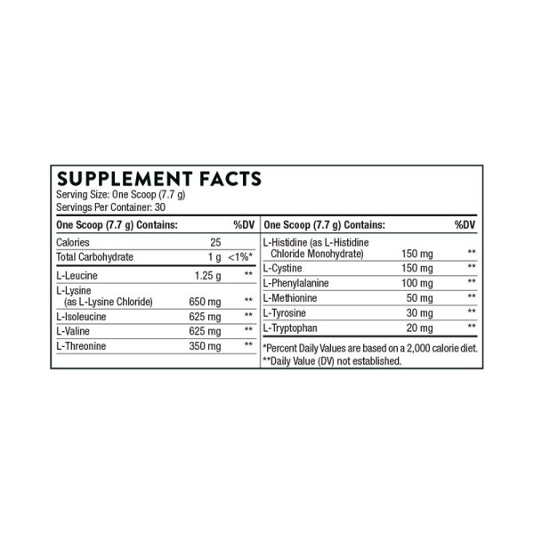 Thorne Amino Complex (Lemon) Supplement Facts