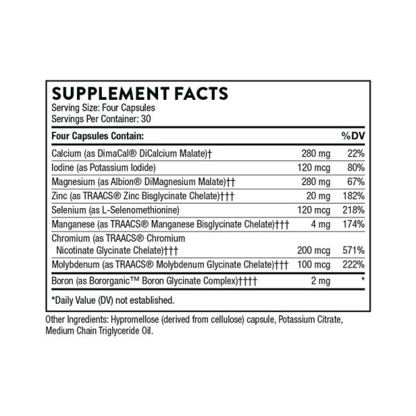 The supplement facts for BioMins ll by Thorne