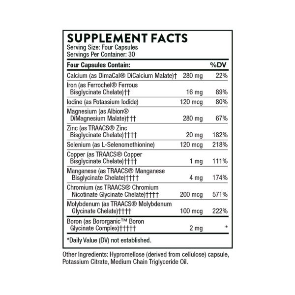 The supplement facts for BioMins by Thorne