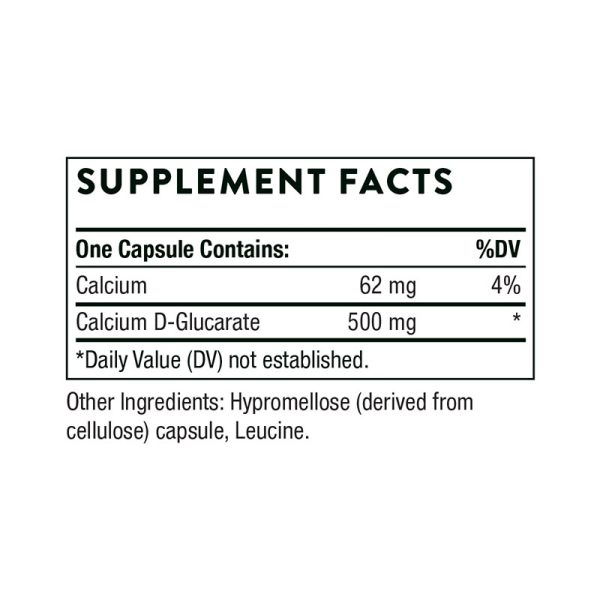 The supplement facts for Calcium D-Glucarate by Thorne