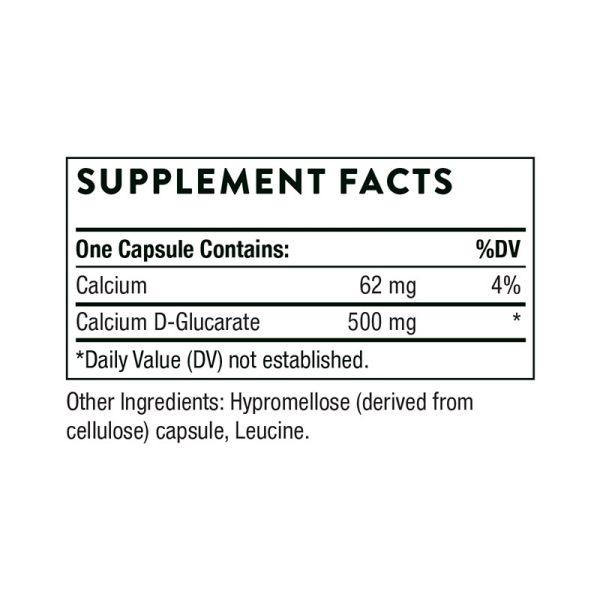 Thorne Calcium D-Glucarate Supplement Facts