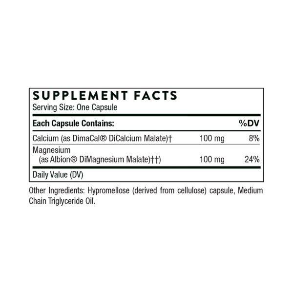 The supplement facts for Calcium-Magnesium Malate by Thorne