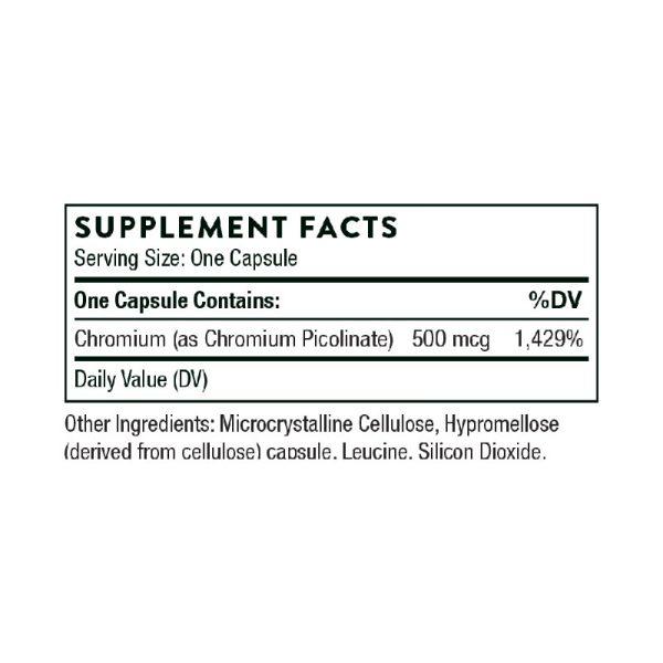 Thorne Chromium Picolinate Supplement Facts
