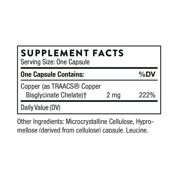 Thorne Copper Bisglycinate Supplement Facts