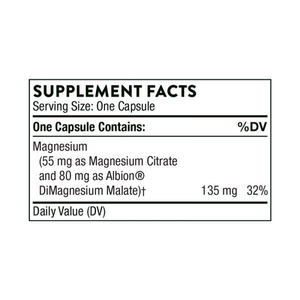 Thorne Magnesium CitraMate Supplement Facts