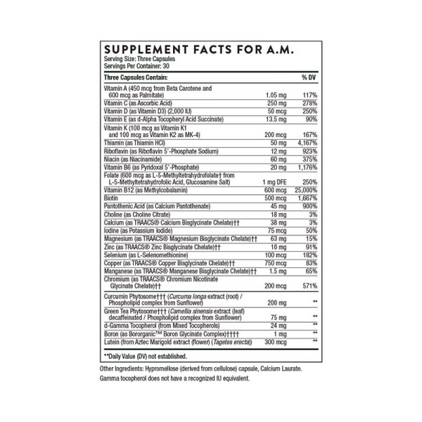 Thorne Multi-Vitamin Elite Supplement Facts AM