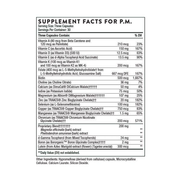 Thorne Multi-Vitamin Elite Supplement Facts PM