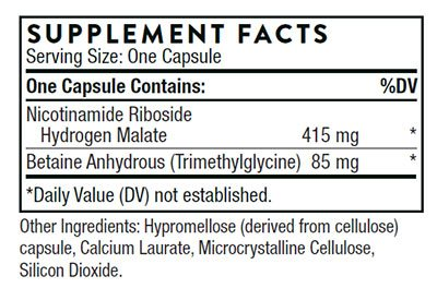The supplement facts for NiaCel 400 by Thorne