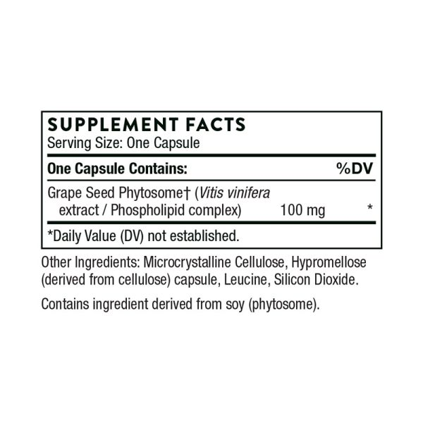 The supplement facts for OPC 100 by Thorne