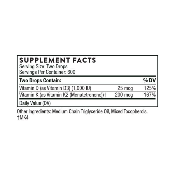 Thorne Vitamin d/K2 Liquid Supplement Facts