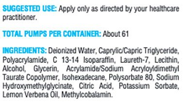 Xymogen B12 Methylcobalamin 1.8 oz Supplement Facts