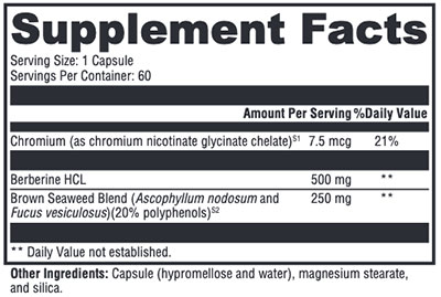 Xymogen Berberine with InSea2 Supplement Facts
