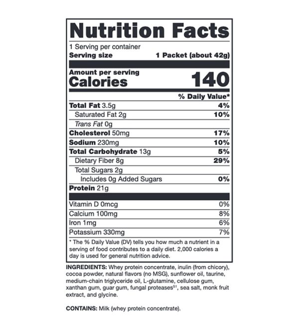 Xymogen Fit Food Lean Whey Creamy Chocolate No Added Sugar, No Added Stevia Supplement Facts