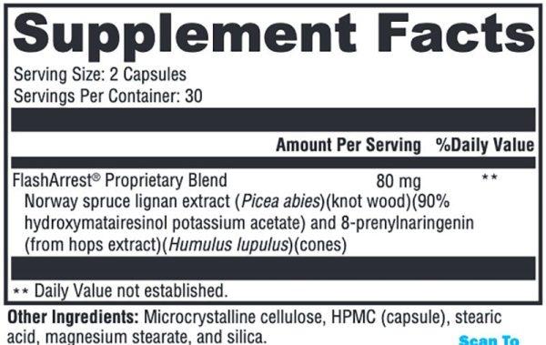 Xymogen FlashArrest Supplement Facts