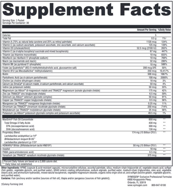 Xymogen Foundation Essentials Supplement Facts