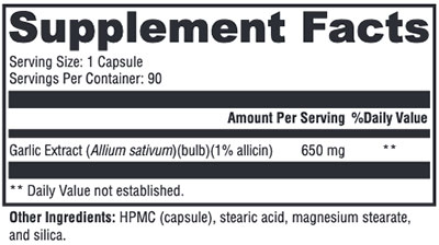 Xymogen Garlix Supplement Facts