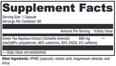 Xymogen Green Tea 600 Supplement Facts