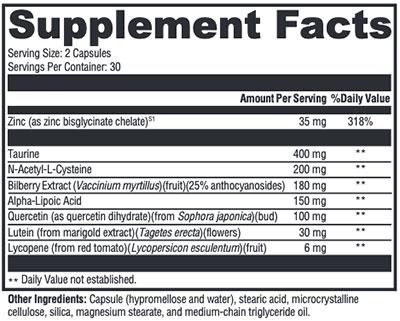 Xymogen I-Sight Supplement Facts