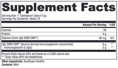 Xymogen IgG 2000 CWP Powder Supplement Facts
