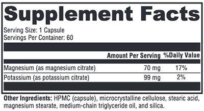 Xymogen K-Mg Citrate Supplement Facts