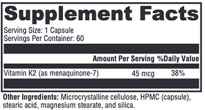 Xymogen K2-45 Supplement Facts