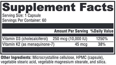 Xymogen K2-D3 10,000 Supplement Facts