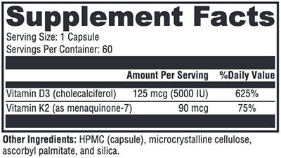 Xymogen K2-D3 5,000 Supplement Facts