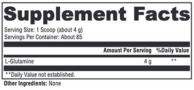 Xymogen L-Glutamine Supplement Facts