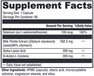 Xymogen Liver Protect Supplement Facts