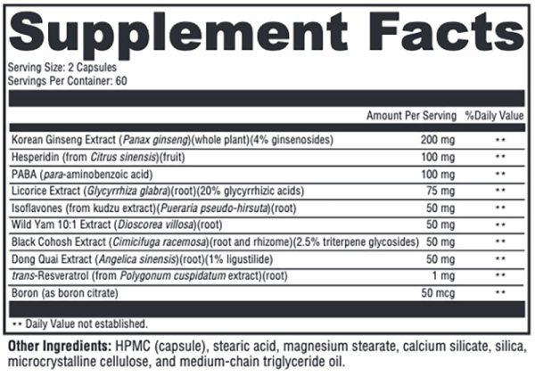 Xymogen MedCaps Menopause Supplement Facts