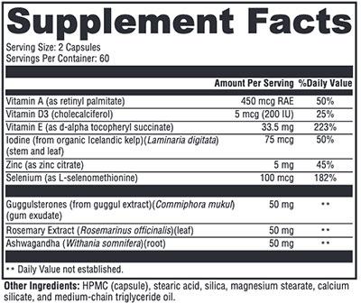 Xymogen MedCaps T3 Supplement Facts