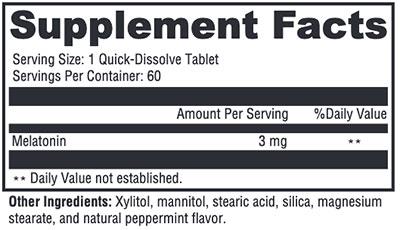 Xymogen Melatonin Peppermint Supplement Facts