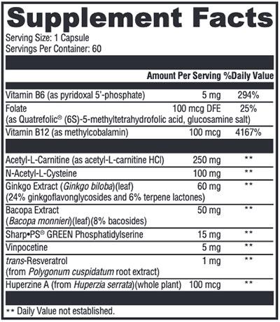 Xymogen MemorAll Supplement Facts