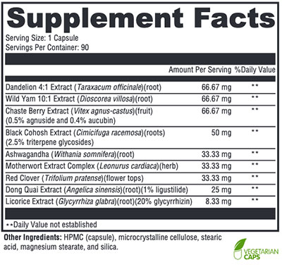 Xymogen MenoFem Supplement Facts
