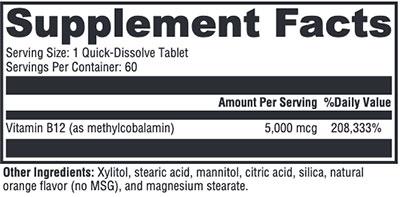 Xymogen Methylcobalamin Supplement Facts