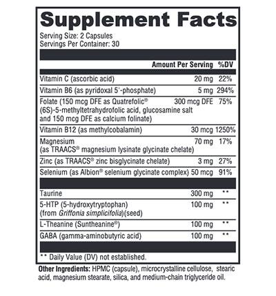 Xymogen Mood Food ES Supplement Facts
