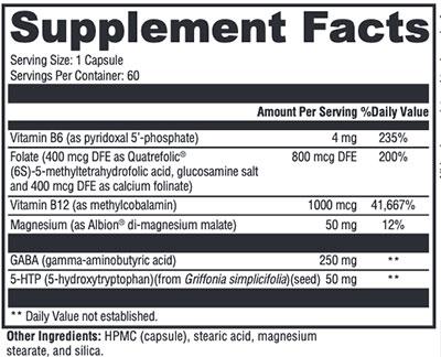 Xymogen Mood Food Supplement Facts