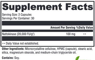 Xymogen Nattokinase Supplement Facts