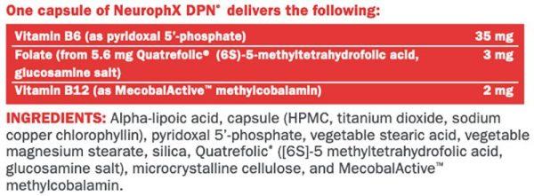Xymogen NeurophX DPN Supplement Facts