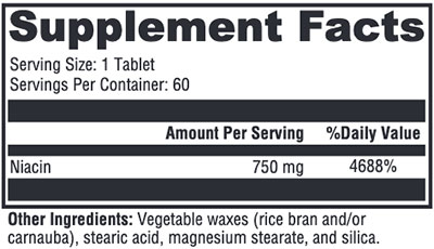 Xymogen NiaVasc 750 Supplement Facts