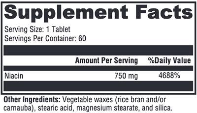 Xymogen NiaVasc 750 Supplement Facts