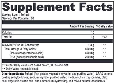 Xymogen Omega MonoPure 1300 EC Supplement Facts