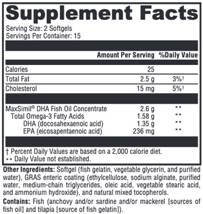 Xymogen Omega MonoPure DHA EC Supplement Facts