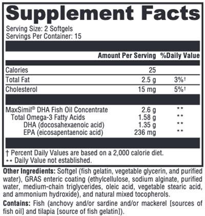 Xymogen Omega MonoPure DHA EC Supplement Facts