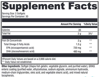 Xymogen OmegaPure 600 EC Supplement Facts