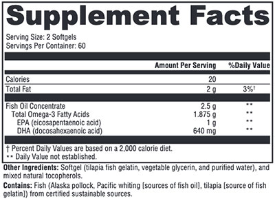 Xymogen OmegaPure 820 Supplement Facts
